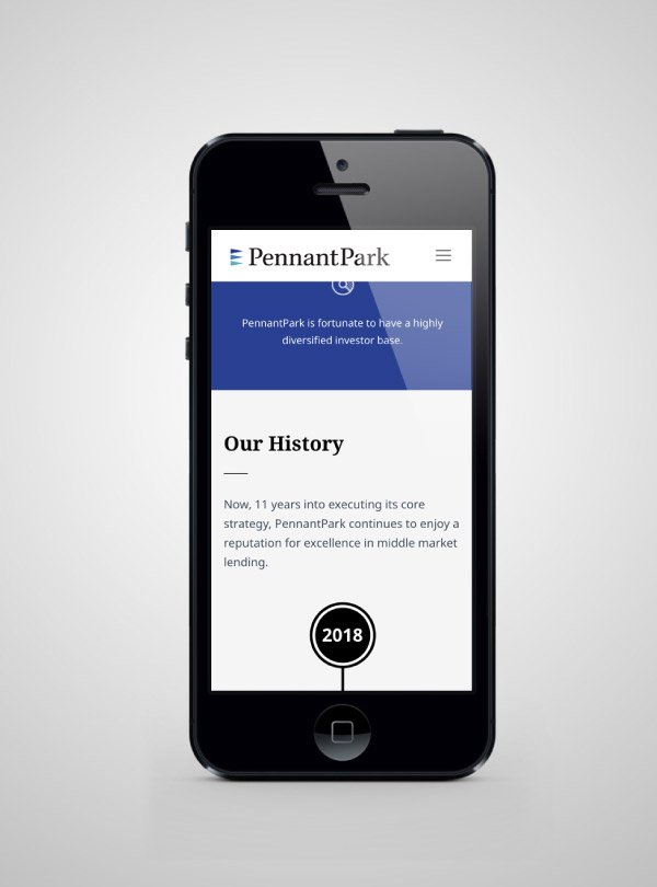 PennantPark website mobile view