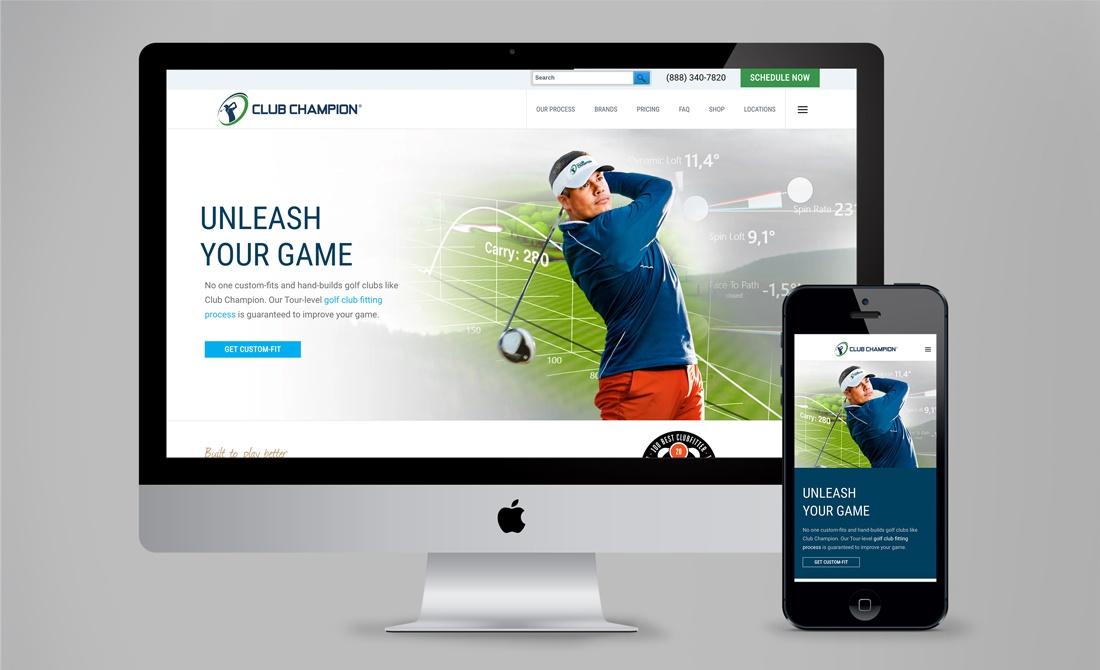 Club Champion Website After Desktop and Phone Mobile Views